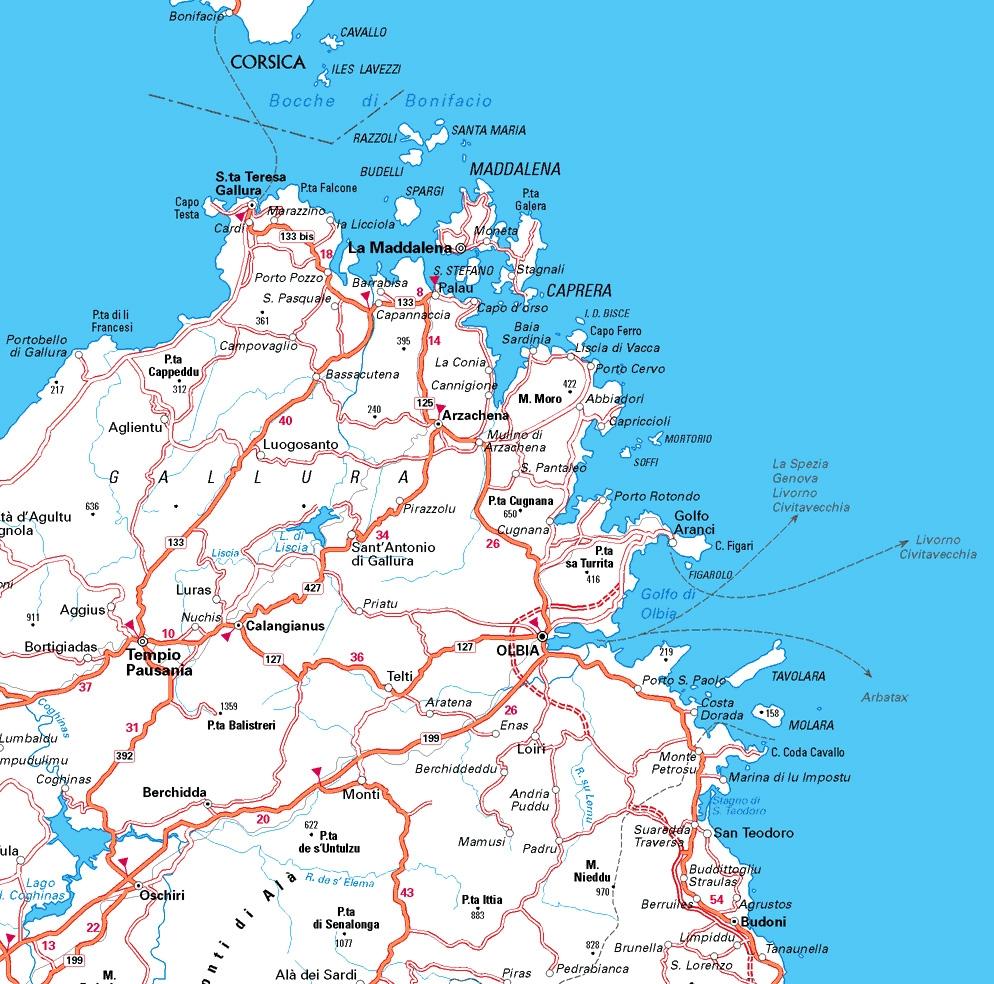 Cartina Stradale Sardegna Nord.Cartina Della Gallura Cartina Della Sardegna
