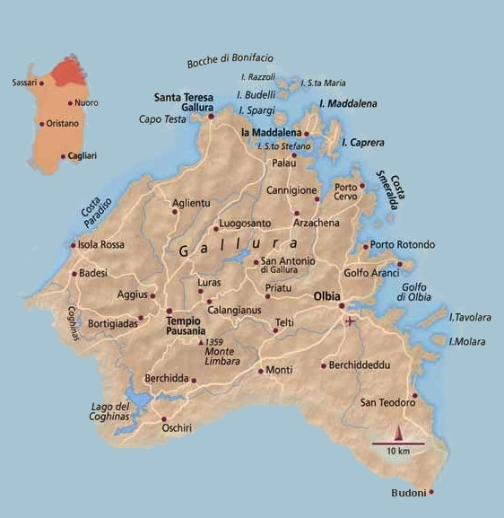 Mappa Km Sardegna.Cartina Della Gallura Sardegna Pleinair Campeggi E Villaggi In Sardegna