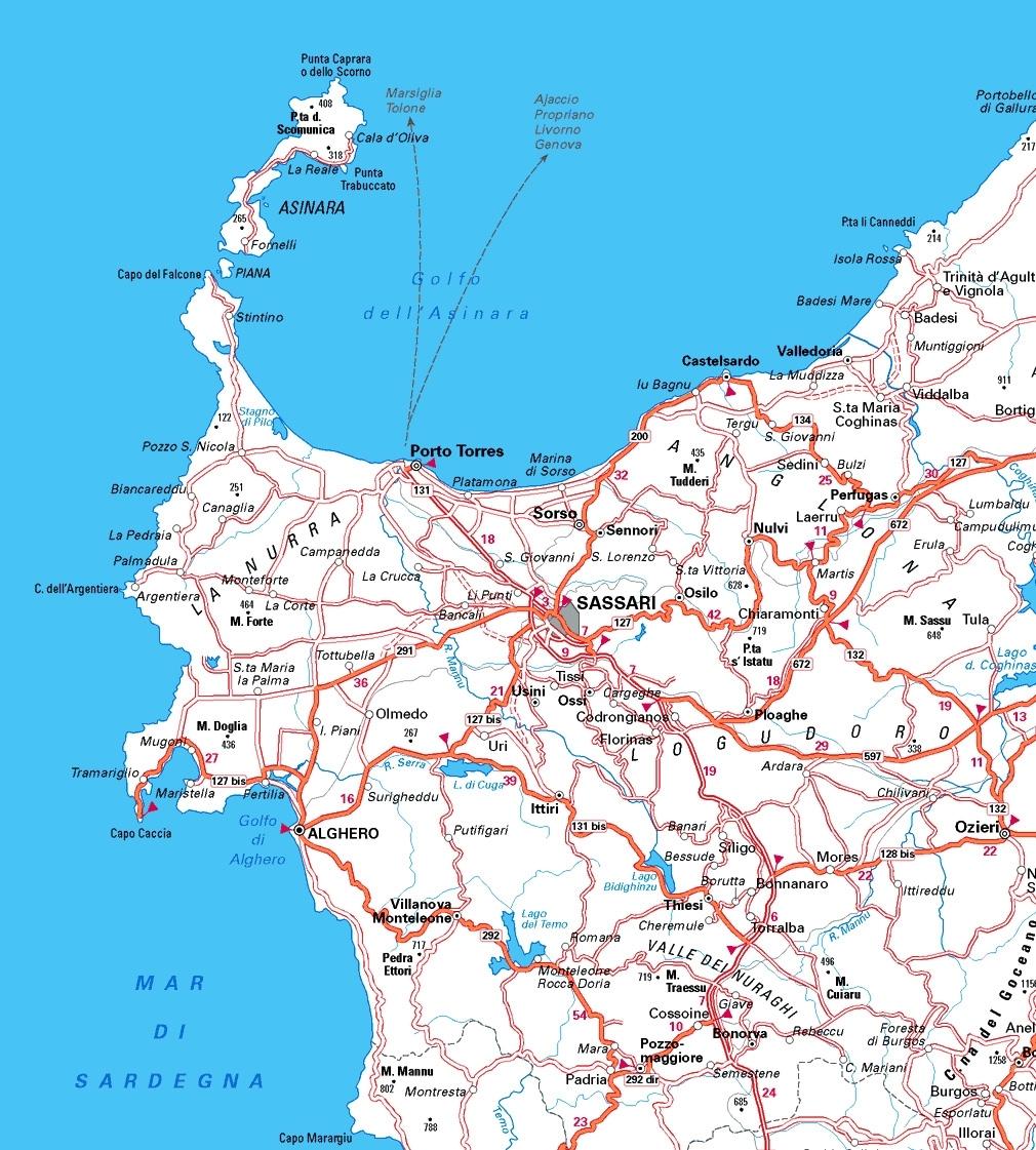 Cartina Sardegna Geografica.Cartina Del Sassarese Cartina Della Sardegna