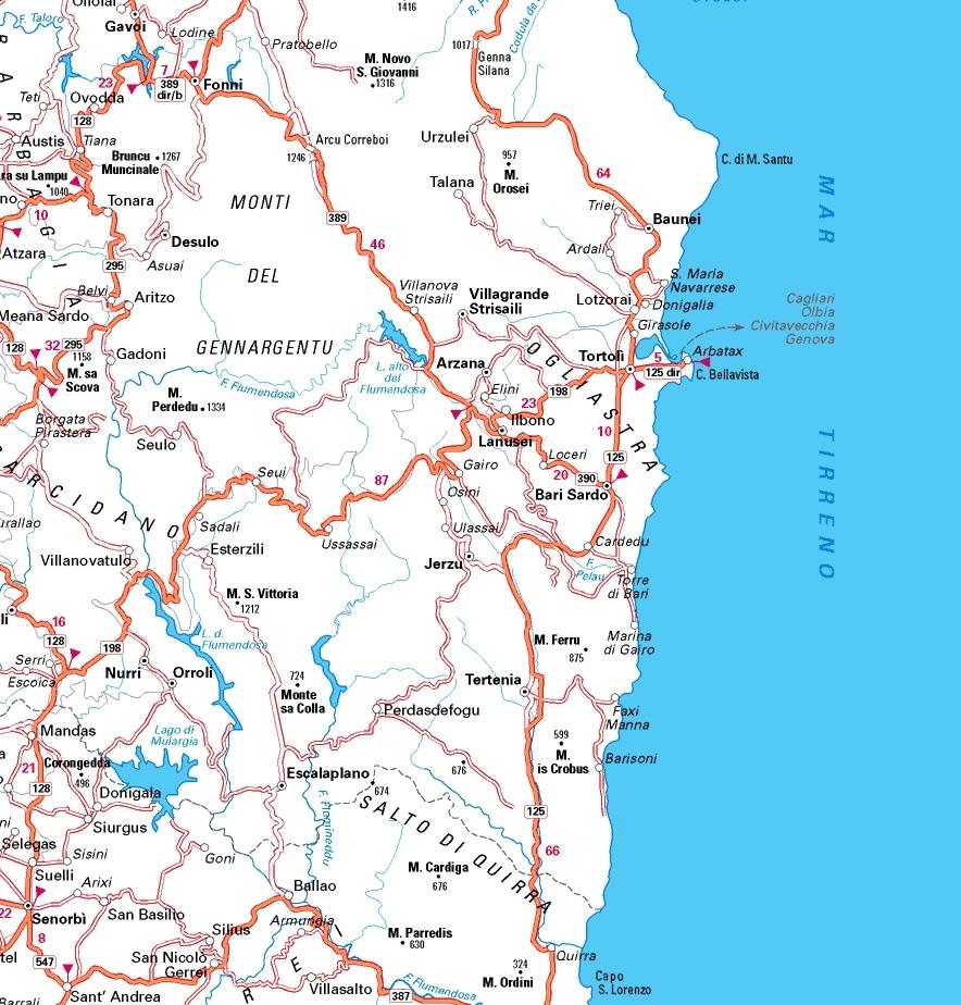 Arbatax Cartina Geografica.Cartina Dell Ogliastra Cartina Della Sardegna