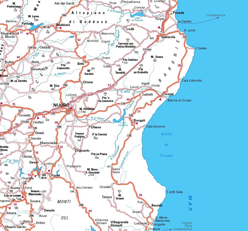 Cartina del nuorese sardegna pleinair campeggi e for Casa di piantagioni del sud