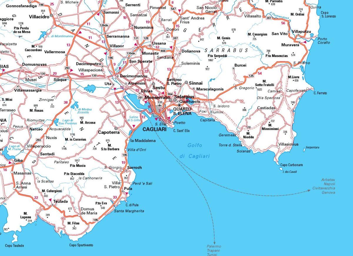 Cartina Sardegna Del Sud.Cartina Del Cagliaritano Cartina Della Sardegna