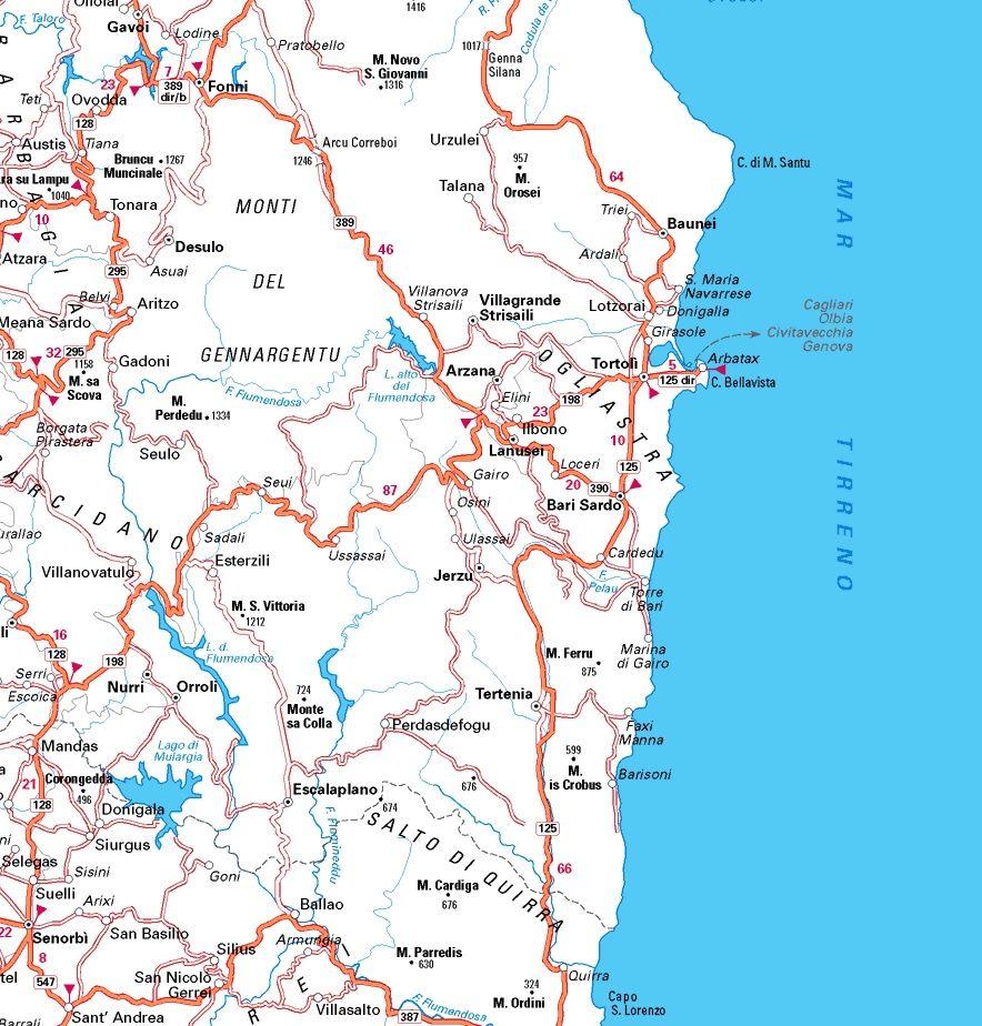 cartina dell'Ogliastra